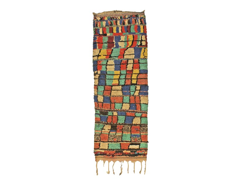 Long pile patchwork wool and cotton rug BOCHEROUITE TAA1025BE by AFOLKI