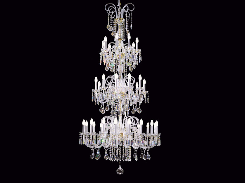 Direct light incandescent blown glass chandelier with crystals BOHEMIA VE 870 by Masiero