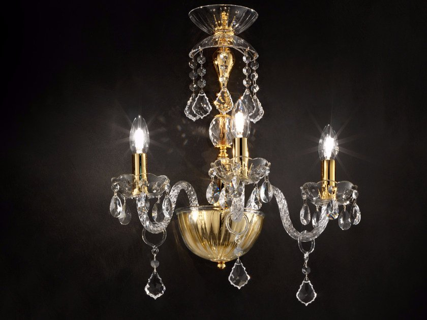 Applique a luce diretta incandescente in vetro soffiato con cristalli BOHEMIA VE 871 | Applique by Masiero
