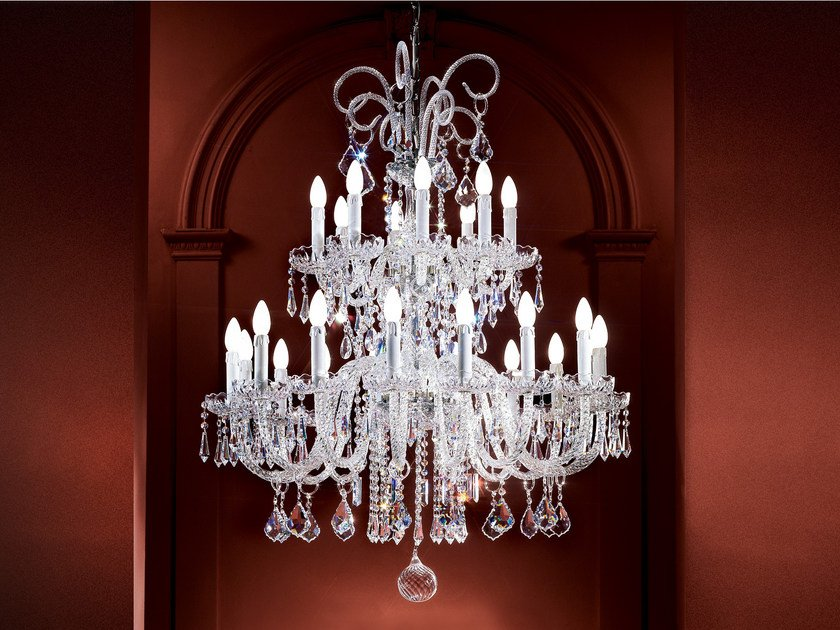 Direct light incandescent blown glass chandelier with crystals BOHEMIA VE 874 by Masiero
