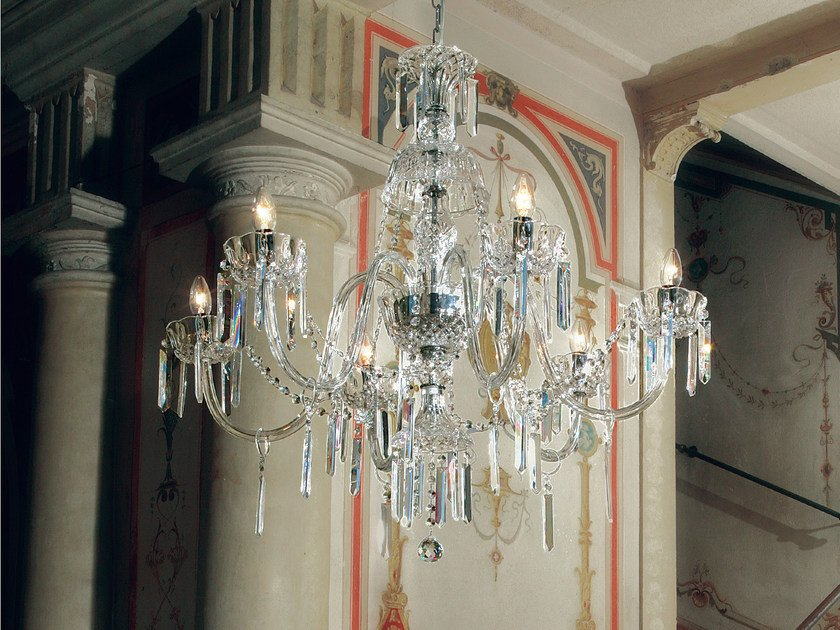 Direct light incandescent blown glass chandelier with crystals BOHEMIA VE 882 by Masiero