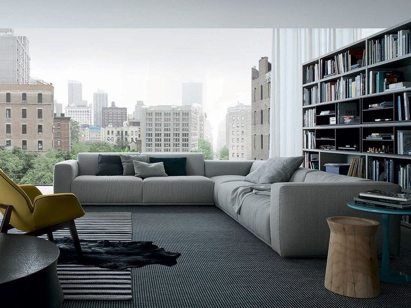 Corner sectional fabric sofa with removable cover BOLTON | Corner sofa by poliform