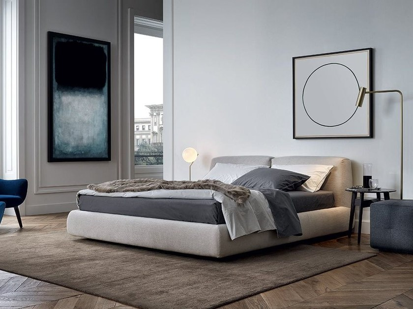Fabric double bed with upholstered headboard BOLTON | Fabric bed by poliform