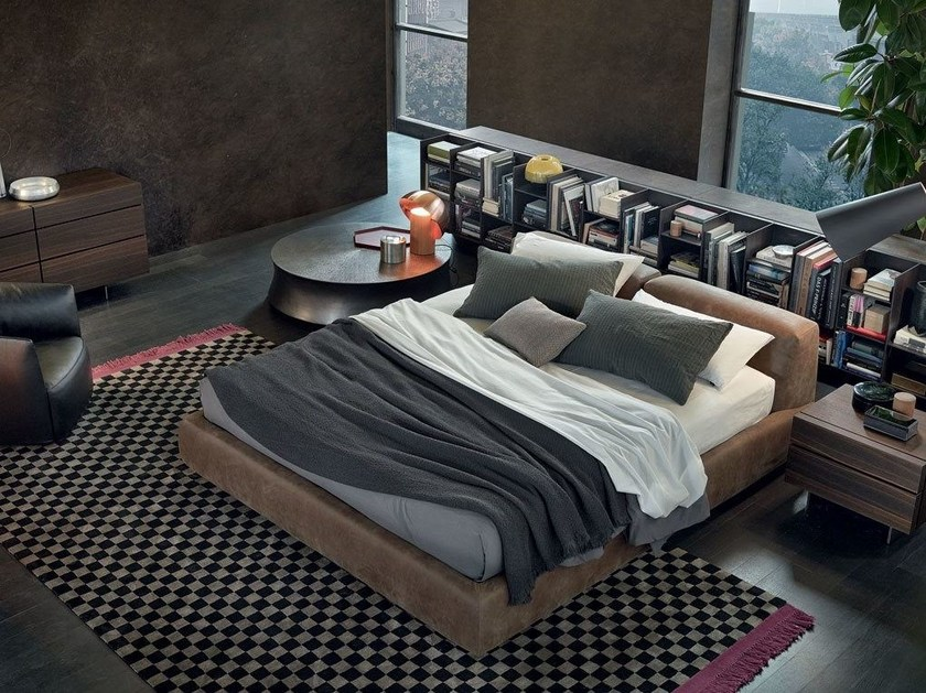 Leather double bed with upholstered headboard BOLTON | Leather bed by poliform