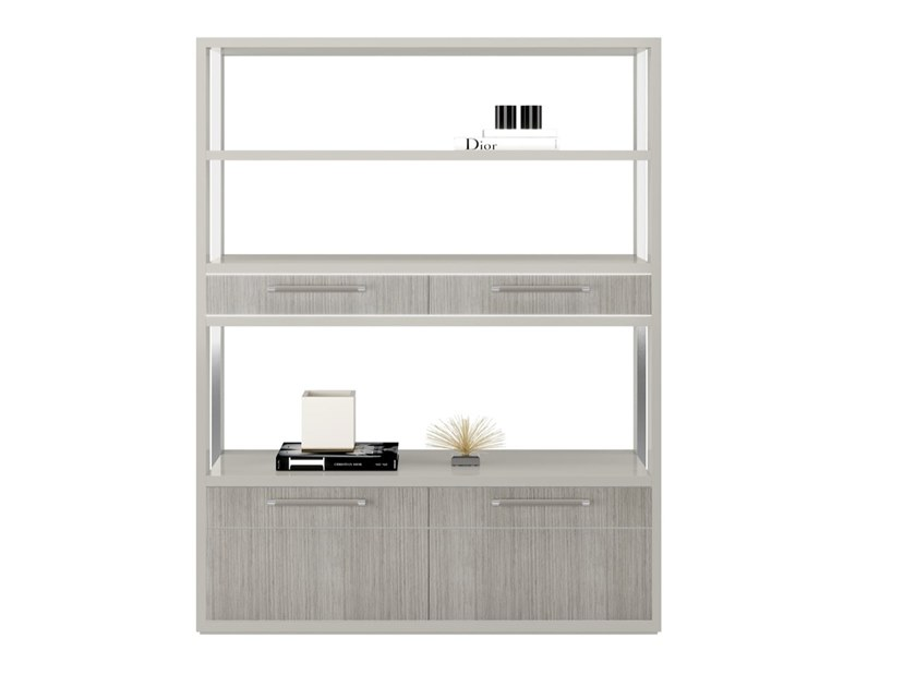Open freestanding wooden bookcase with drawers BOLZANO by FRATO