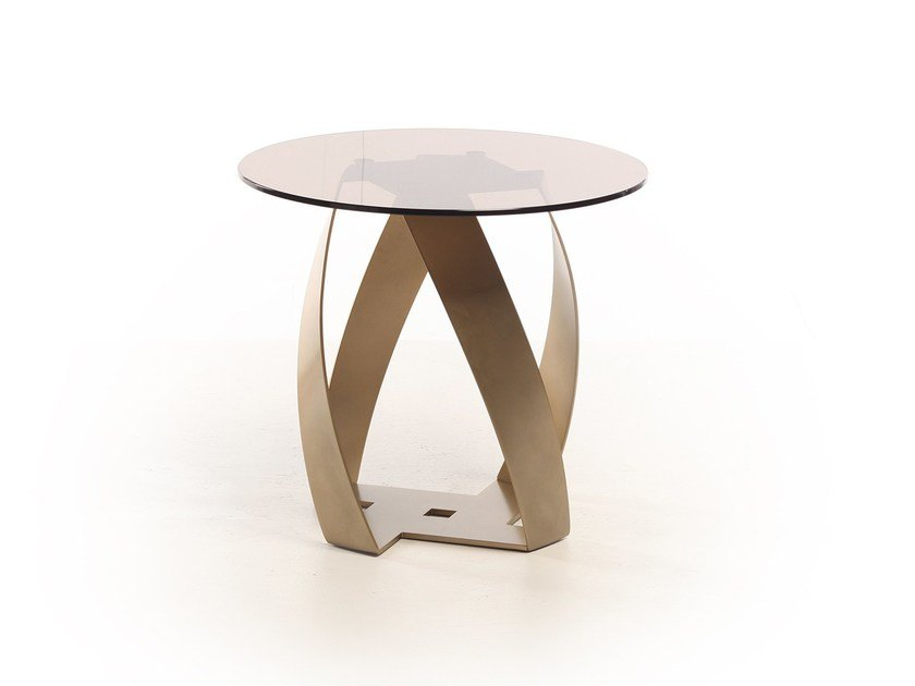 Round glass side table BON BON | Glass coffee table by Potocco