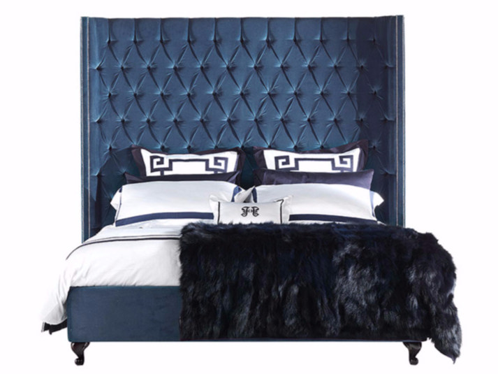 Velvet bed with high headboard BOND by Gianfranco Ferré