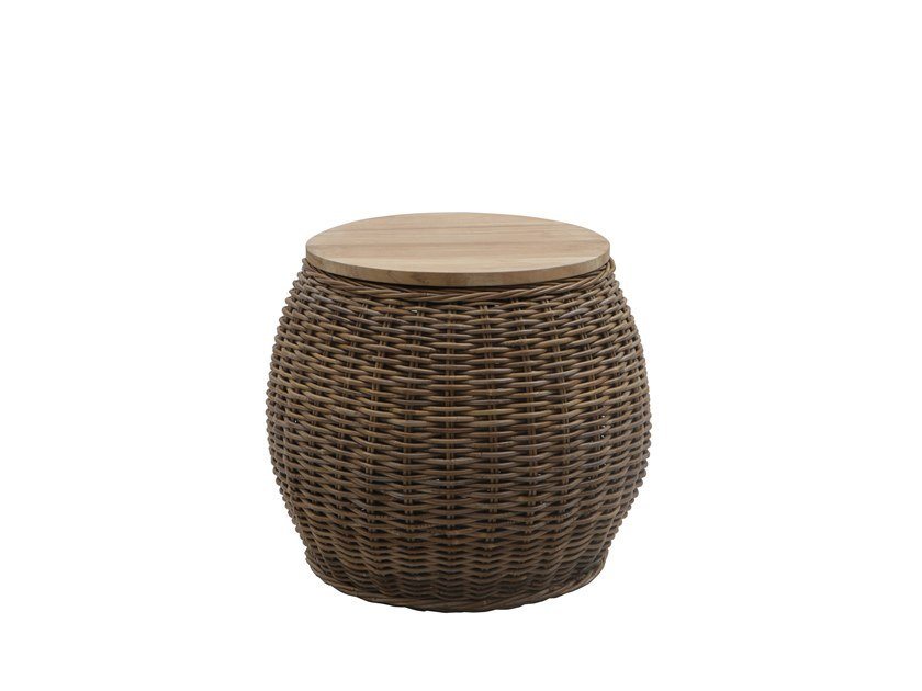 Round wicker garden side table BONGO by Il Giardino di Legno