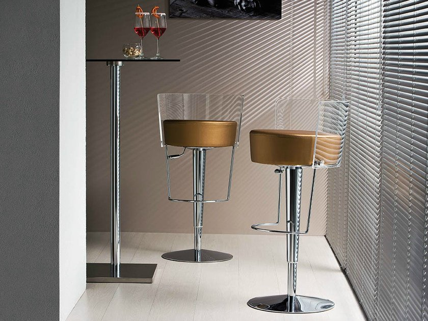 Swivel methacrylate stool with back BONGO | Methacrylate stool by Midj
