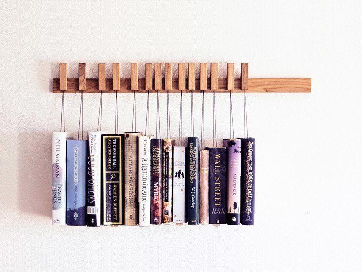 Wall-mounted solid wood bookcase BOOK RACK | Oak bookcase by AGUSTAV