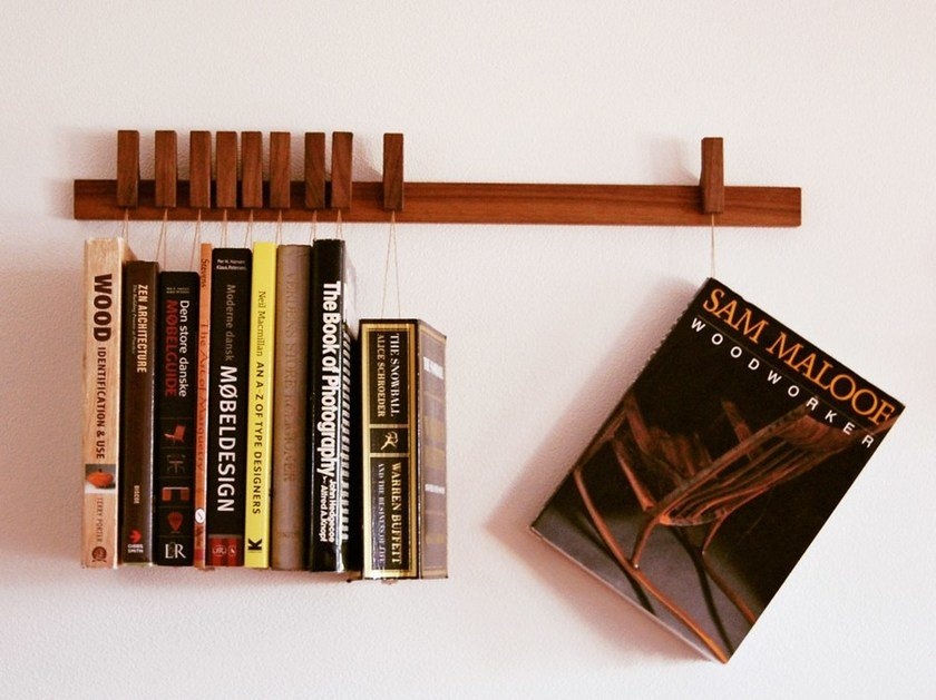 Wall-mounted solid wood bookcase BOOK RACK | Walnut bookcase by AGUSTAV