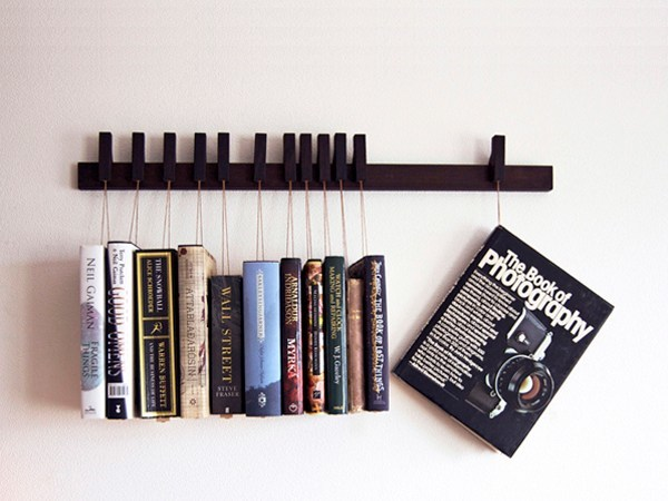 Wall-mounted solid wood bookcase BOOK RACK | Wenge bookcase by AGUSTAV