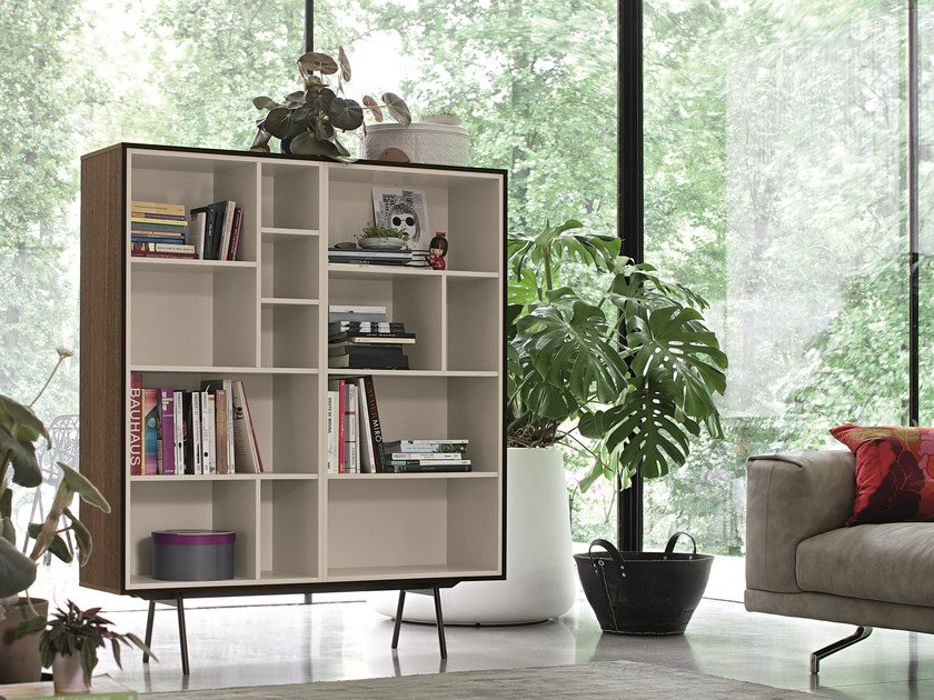 Lacquered wooden bookcase CODE | Bookcase by Dall'Agnese