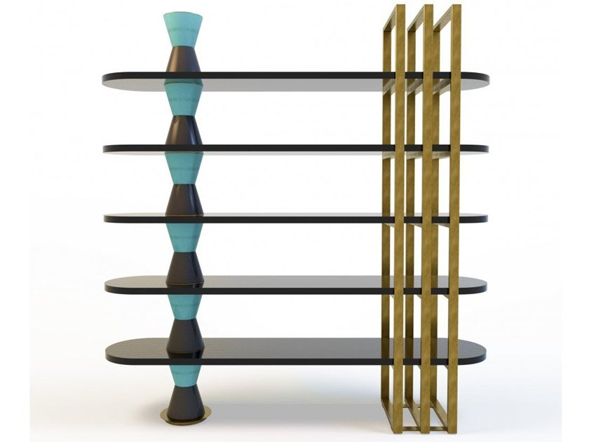 Freestanding lacquered wooden bookcase PALM | Bookcase by MARIONI
