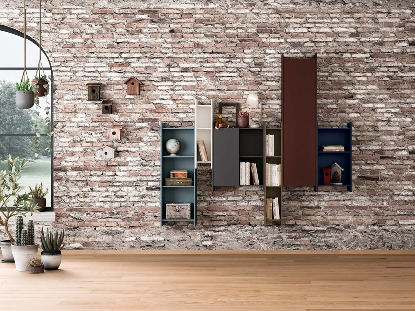 Wall-mounted sectional bookcase 7FOR | Bookcase by SCULPTURES JEUX