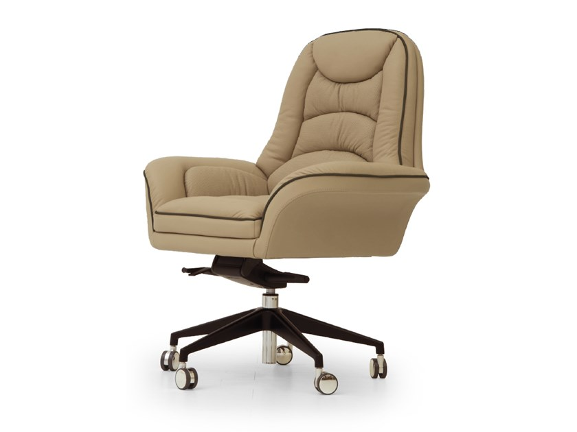 Swivel leather executive chair with castors BOOSTER | Executive chair by Tonino Lamborghini Casa