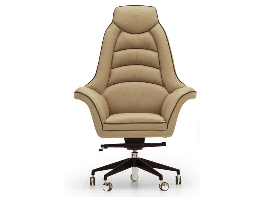 Swivel high-back leather executive chair with castors BOOSTER | High-back executive chair by Tonino Lamborghini Casa