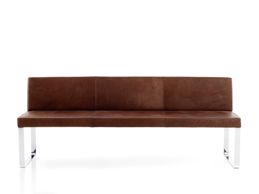 Leather bench with back BOP | Leather bench by more