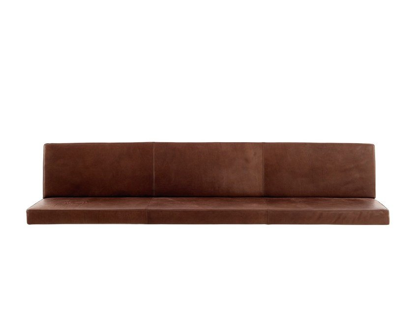 Wall-hung leather bench with back BOP | Bench with back by more