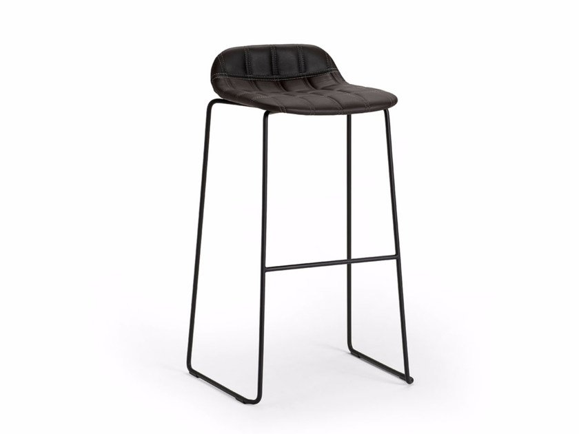 High upholstered sled base fabric stool BOP | Stool by Offecct