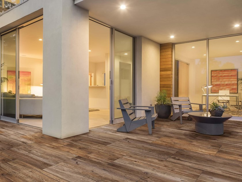 Vehicular porcelain stoneware outdoor floor tiles with wood effect BOSCO by GRANULATI ZANDOBBIO