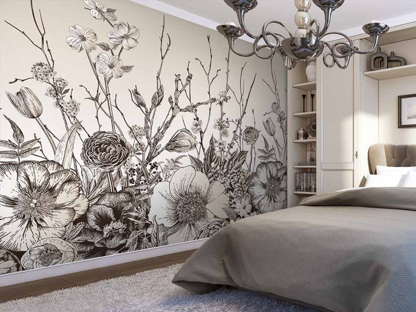 Digital printing wallpaper with floral pattern BOTANIK by LGD01