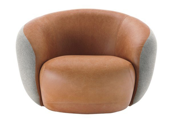 Upholstered leather armchair with armrests BOTERO | Leather armchair by Sesta