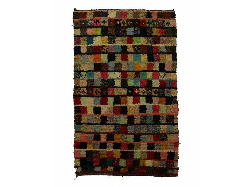 Long pile rectangular wool rug with geometric shapes BOUCHEROUITE TAA1028BE by AFOLKI