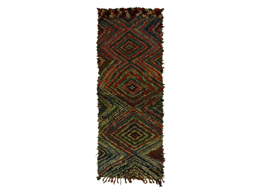 Long pile rectangular wool rug with geometric shapes BOUCHEROUITE TAA1036BE by AFOLKI