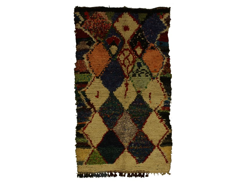 Long pile rectangular wool rug with geometric shapes BOUCHEROUITE TAA1039BE by AFOLKI