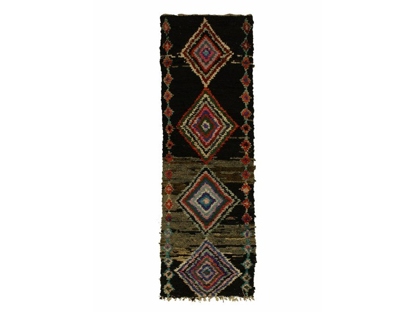 Long pile rectangular wool rug with geometric shapes BOUCHEROUITE TAA1043BE by AFOLKI