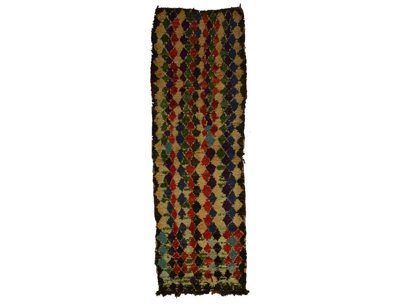 Long pile rectangular wool rug with geometric shapes BOUCHEROUITE TAA1045BE by AFOLKI