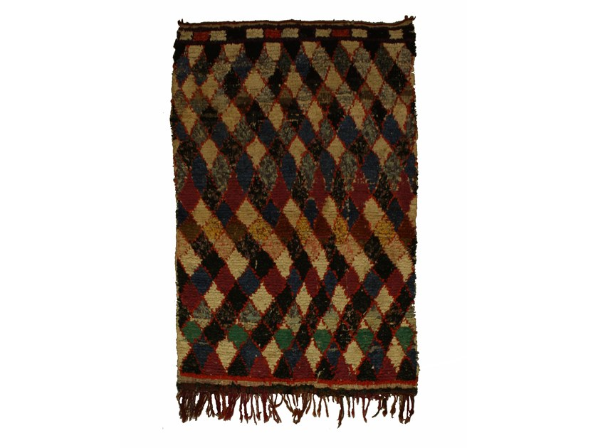 Long pile rectangular wool rug with geometric shapes BOUCHEROUITE TAA1046BE by AFOLKI