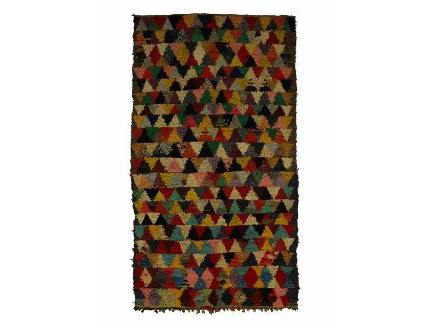 Long pile rectangular wool rug with geometric shapes BOUCHEROUITE TAA1047BE by AFOLKI