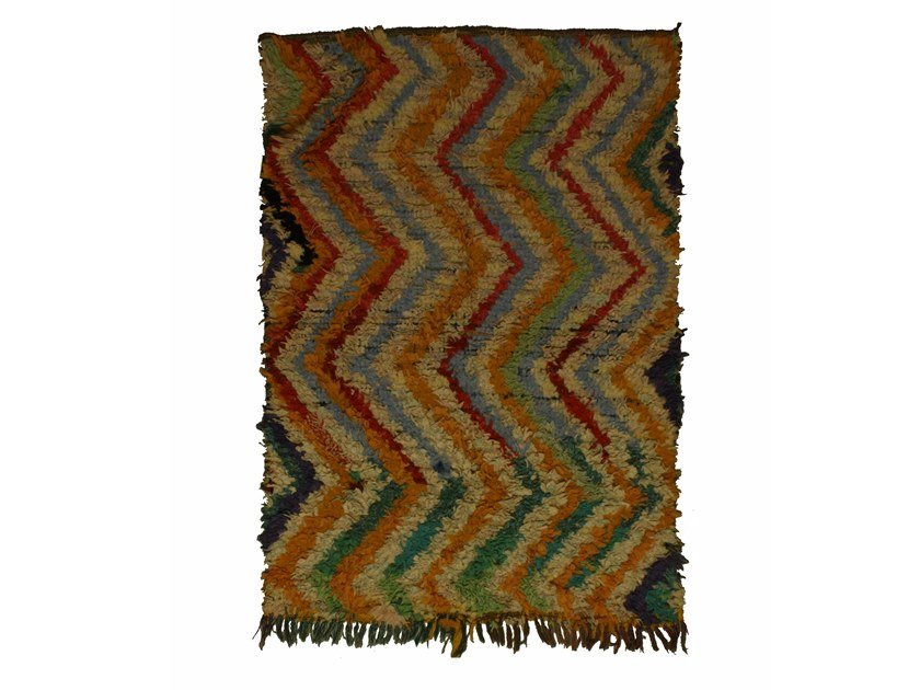 Long pile rectangular wool rug with geometric shapes BOUCHEROUITE TAA1049BE by AFOLKI