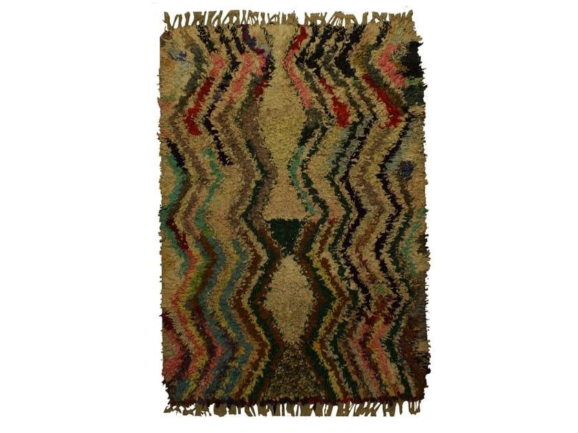Patterned long pile rectangular wool rug BOUCHEROUITE TAA1051BE by AFOLKI