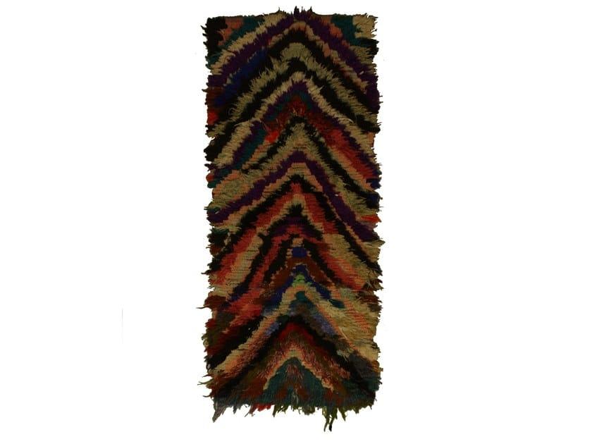 Patterned long pile rectangular wool rug BOUCHEROUITE TAA1041BE by AFOLKI