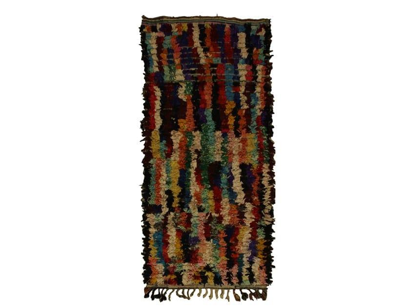 Patterned long pile rectangular wool rug BOUCHEROUITE TAA1053BE by AFOLKI