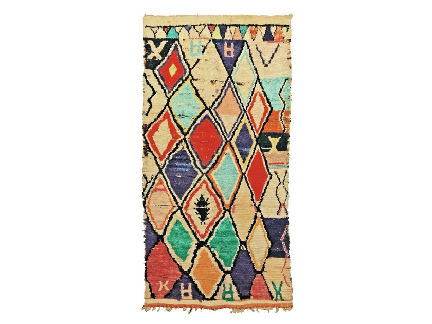 Long pile wool and cotton rug with geometric shapes BOUCHEROUITE TAA1085BE by AFOLKI