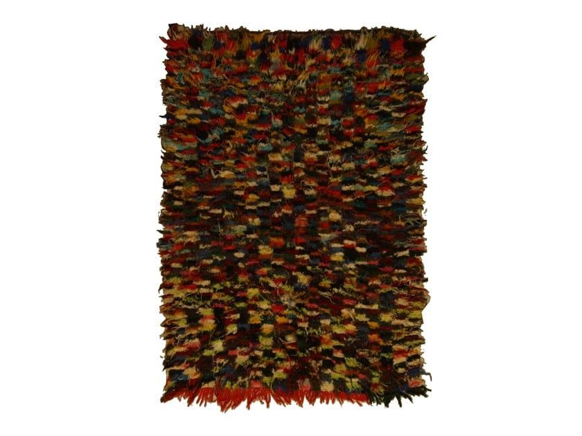 Long pile rectangular wool rug BOUCHEROUITE TAA1086BE by AFOLKI