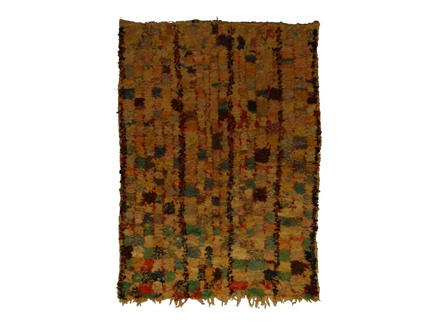 Patterned long pile rectangular wool rug BOUCHEROUITE TAA1087BE by AFOLKI