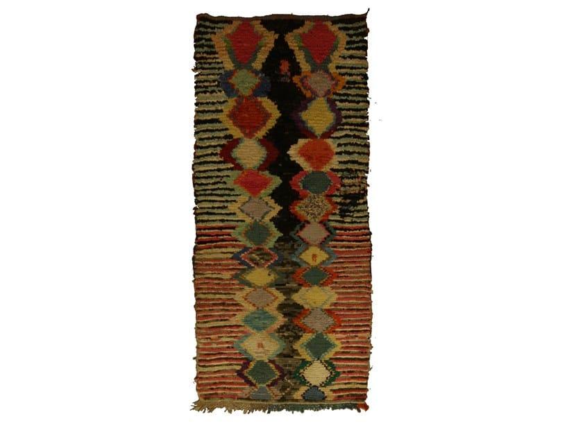 Patterned long pile rectangular wool rug BOUCHEROUITE TAA1088BE by AFOLKI
