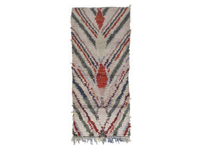 Patterned long pile rectangular wool rug BOUCHEROUITE TAA1186BE by AFOLKI