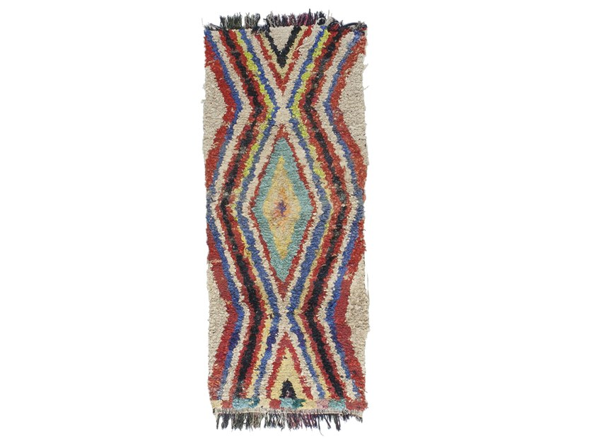Long pile rectangular wool rug with geometric shapes BOUCHEROUITE TAA1190BE by AFOLKI