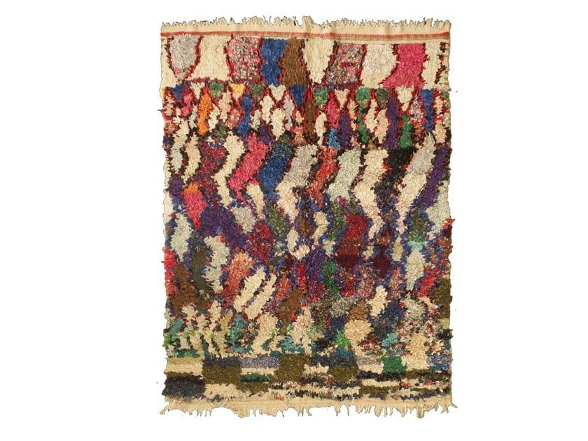 Patterned long pile rectangular wool rug BOUCHEROUITE TAA1231BE by AFOLKI