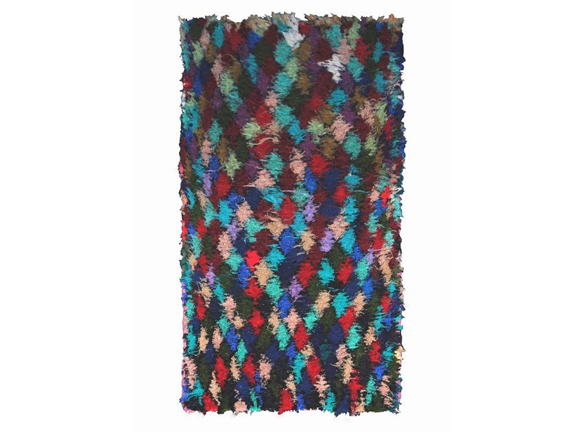 Long pile rectangular wool rug with geometric shapes BOUCHEROUITE TAA434BE by AFOLKI