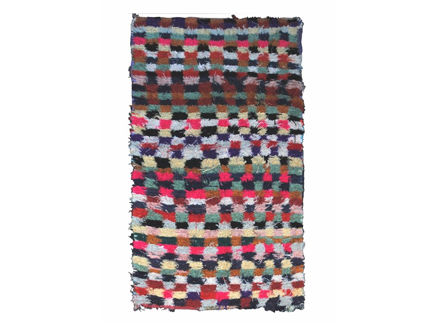 Long pile rectangular wool rug with geometric shapes BOUCHEROUITE TAA439BE by AFOLKI