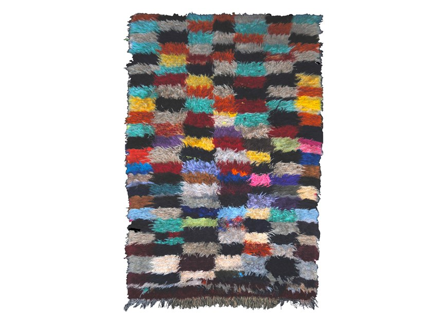 Long pile rectangular wool rug with geometric shapes BOUCHEROUITE TAA440BE by AFOLKI