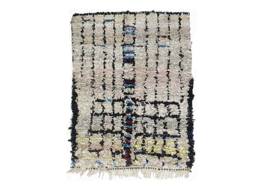 Patterned long pile rectangular wool rug BOUCHEROUITE TAA708BE by AFOLKI