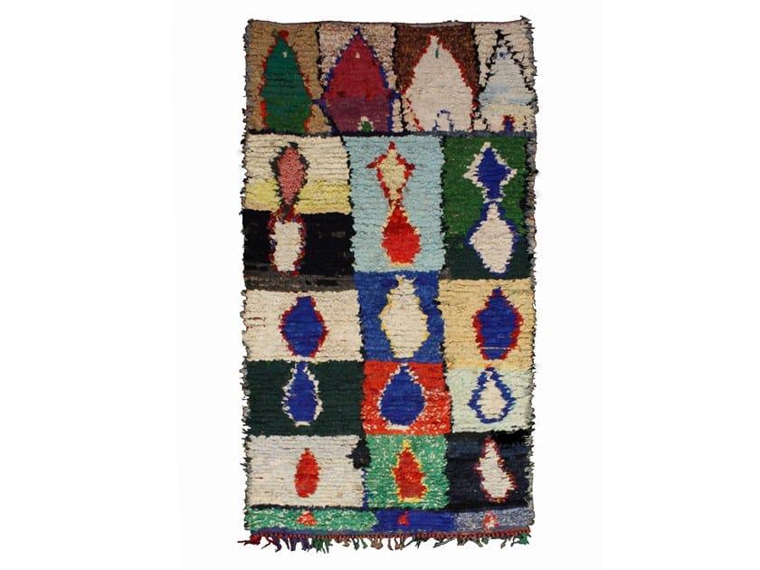Long pile patchwork wool rug BOUCHEROUITE TAA764BE by AFOLKI